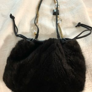 Mink clutch/shoulder bag,black leather trim.
